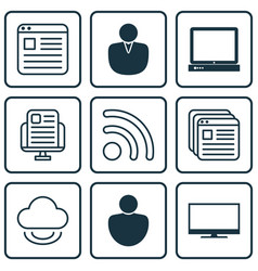 set of 9 online connection icons includes human vector image