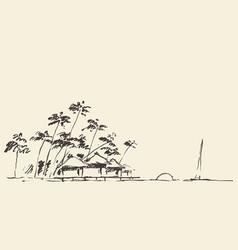 sketches seaside view beach sketch vector image vector image