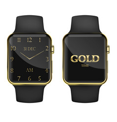 Smart watch gold time vector