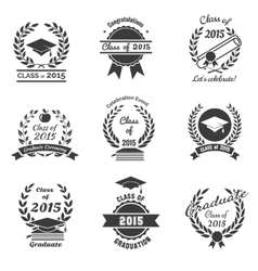 Graduation labels High School and congratulations vector image vector image