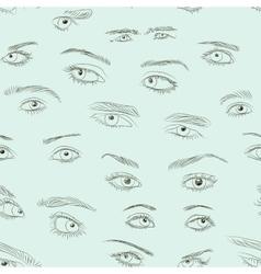 Hand drawn Eyes set pattern vector image