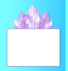 purple crystals place for text in white frame vector image vector image