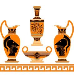 set of hellenic vases stencils vector image