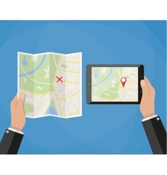tablet navigation application and folded paper map vector image vector image