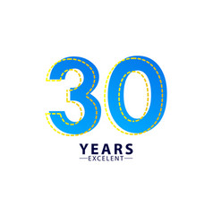 30 years excellent anniversary celebration blue vector