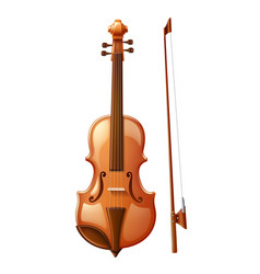 3d violin with fiddle stick for music vector image