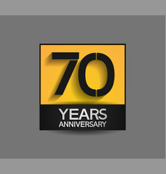 70 years anniversary in square yellow and black vector