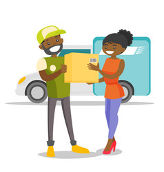a courier delivering a package to a woman vector image