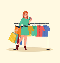 a shopping woman inside vector image