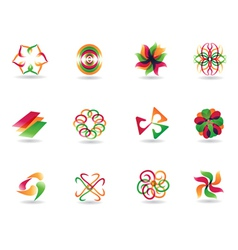 abstract colorful icons vector image