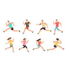 Athlete man and woman running energetic people vector