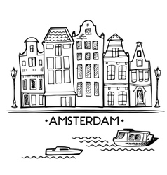 Background with hand drawn doodle Amsterdam houses vector
