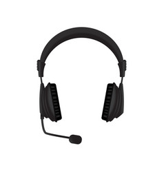 Black headphones with microphone vector