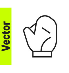 black line baseball glove icon isolated on white vector image