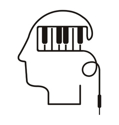 black silhouette head with piano keys vector image