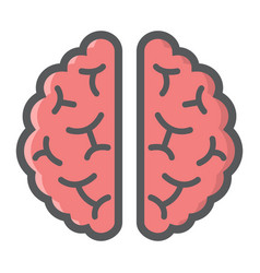 brain filled outline icon medicine and healthcare vector image