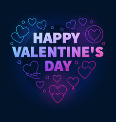 bright happy valentines day heart vector image
