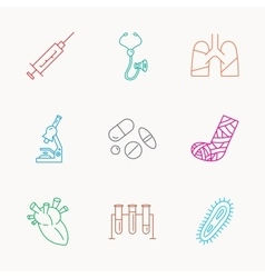 Broken foot lungs and syringe icons vector