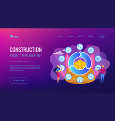Building information modeling concept landing page vector