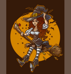 cartoon cute halloween witch flying on broom vector image