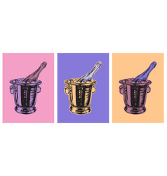 Champagne bottle bucket hand drawing vector