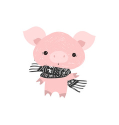 christmas pinky pig with a scarf new year postma vector image