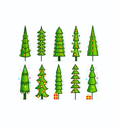 christmas tree icons set of outline pines vector image