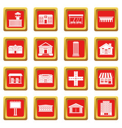 City infrastructure items icons set red vector