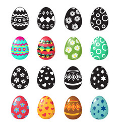 Colorful and black and white easter eggs icons vector