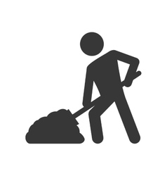 Constructer shovel under construction icon vector