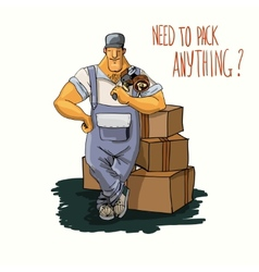 Delivery man with tape dispenser vector image