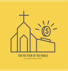 Donation and charity on church vector