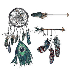 Dreamcatcher with ethnic arrow and feathers vector