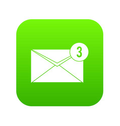 envelope with three messages icon digital green vector image