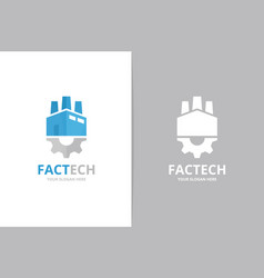 Factory and gear logo combination industry vector