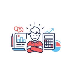 financial success - modern line design style vector image