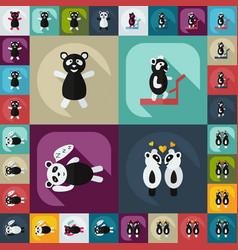 Flat concept set modern design with shadow panda vector