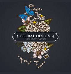 Floral bouquet dark design with iris japonica vector