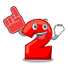 foam finger number two red isolated on mascot vector image