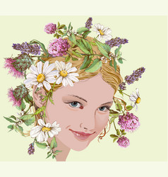 Girl with wild flowers and herbs wreath vector