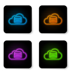 glowing neon cloud database icon isolated on vector image