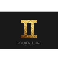 Golden twins Golden zodiac sign Twins zodiac vector image