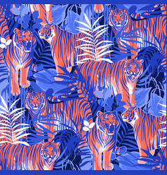 Graphic seamless patterns of tigers in different vector