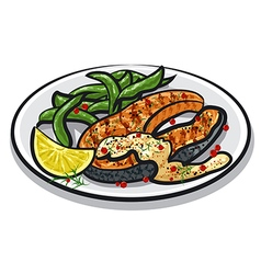 Grilled salmon steak vector