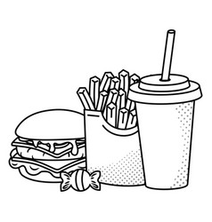 Hamburger french fries and soda black and white vector