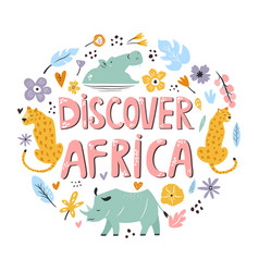 hand drawn design discover africa with animals vector image