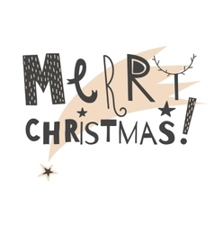 Hand drawn lettering sign Merry Christmas vector