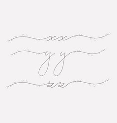 hand lettering floral lowercase monograms and vector image