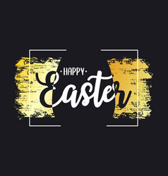 happy easter card with text lettering gold brush vector image