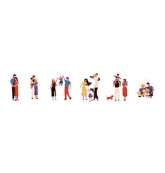 happy family set collection vector image